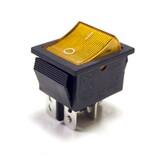 Клавиша IRS-202/XW-604 (I-O) (жёлтая-неон подсв.), качество! (уст.32х22мм) (4 конт.250В)