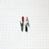 [003]  Зажим «Крокодил», 50мм, для тестера, 1 изолятор, с винтом, цена за комплект (2 шт, чёрный+красный), APK-007