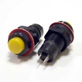 Кнопка PBS-10B-10/DS213 круглая (жёлтая) без фиксации (250V/1A)