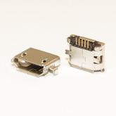 Разъём компьют: гнездо micro-USB 5pin, тип 11 (38025) 2выв. крепл. в сторону