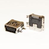 Разъём компьют: гнездо mini-USB 5pin, на плату, тип1