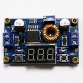 [018]  Модуль: DC/DC пониж.; вх. 4,0-38V - вых. 1,25-36V, до 5А (на LM2596) с LED вольтм.