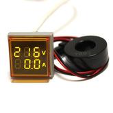Вольтамперметр цифровой LED AC/50Hz (20-500VAC, 0-100A датчик тока) DMS-202 желтый (дисплей 30х30, корпус 22мм) 110508